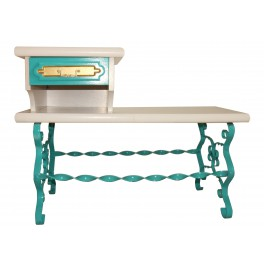 SLOW DESIGN table/bench Turquoise and gold hand-painted