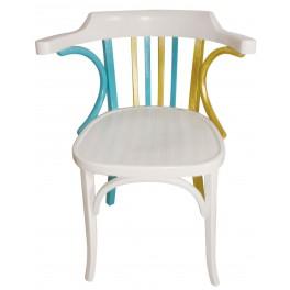 Antik szék kézzel festve (arany, türkiz)