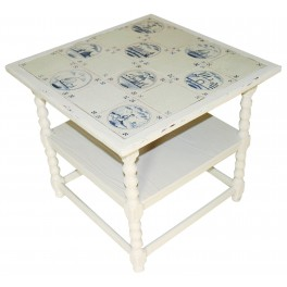 PROVANCE style hand made table with blue patterned tiles