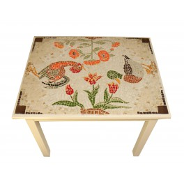 Hand-painted table with animal mosaic