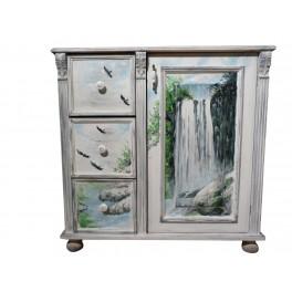 ART FUSION Design Kommode: Wasserfall Malerei im provenzalischen Stil Kommode