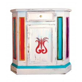 ART FUSION by contemporary artists painted-vintage commode (decorated with Hungarian motive)