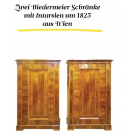 Two Biedermeier Coupboards with marquetry,Year 1825 Vienna